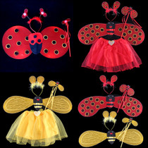 Lin Fang 70g children angel wings Feather Butterfly Wing prop parent-child dress Demon Bee three-piece set