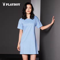 Playboy ladies nightdress summer cotton fresh round neck home service short-sleeved dress female pajamas skirt