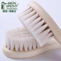 German green bo natural mountain wool baby hair comb baby comb hair brush to go head scale fetal baby soft hair comb