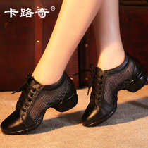 Kaluqi dance shoes leather mesh spring and summer new dance shoes soft bottom four seasons Jazz sailor square dance shoes