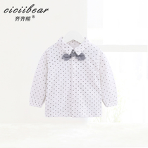 Qi Bear 2019 Spring Baby Top wave dot small tie cotton long sleeve shirt baby casual shirt