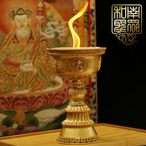Nepal pure copper oil lamp liquid ghee lamp holder Tibetan Tantric eight auspicious Buddha before the long Ming for the lamp candle L