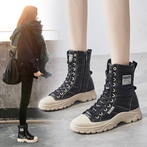 Martin boots Women British style boots 2019 autumn section of snow ice boots cotton shoes winter plus velvet thickening warm tube