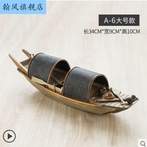 Chinese wind wooden boat model ornaments handicraft handmade boat ornaments solid wood boat fishing boat Wu Feng boat can be launched