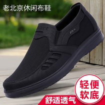 Old shoes old Beijing cloth shoes mens singles shoes autumn and winter in old soft bottom non-slip casual shoes daddy big size 4748 shoes