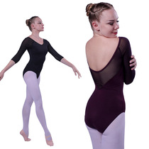 Red Rain with the same sleeve Reiss dance gymnastics bodysuit ballet adult practice suit jumpsuit female can be inserted chest pad.