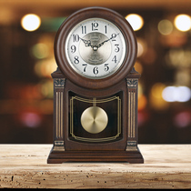 Solid wood desk clock table clock ornaments living room retro silent clock Chinese old-fashioned pendulum clock large time-stamped European-style clock