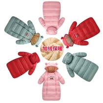 Newborn baby down cotton sleeping bag baby anti-kick was autumn and winter plus velvet thick children hold out to be out of the trolley