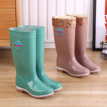 Rain shoes high cylinder long cylinder rain boots ladies water shoes Korean version of the fashion with anti-slip waterproof rubber shoes warm shoes