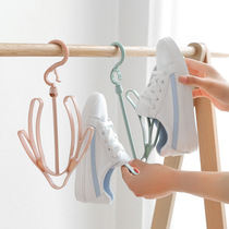 Creative Windproof double-hook balcony sunbathing shoe rack multi-function hanging shoe rack hook hanging shoe shelf drying rack