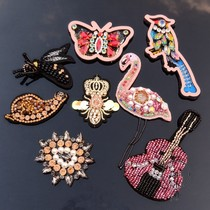 Heavy DIY handmade beaded cloth stickers decorative stickers border butterfly crown bee snail rice pearl fiddle patch