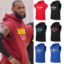James sleeveless hooded sweater pullover vest Curry Owen basketball sports vest training outfit T-shirt