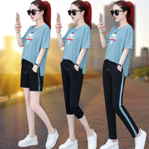 Short-sleeved shorts casual sportswear suit female Summer 2019 new summer Korean fashion cotton two-piece tide