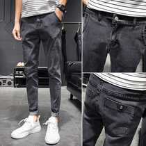 Jeans mens Tide brand Korean version of the trend of slim pants pants 2019 autumn elastic casual black and gray long pants men