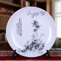 Jingdezhen ceramic hanging plate sitting plate living room modern European-style TV background wall decoration ornaments blue and white porcelain jewelry