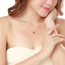 Valentines Day gift niche design necklace female pure silver collarbone chain pendant Korean version of the simple personality fashion trend net red.