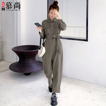 Casual workwear jumpsuit womens 2020 new autumn womens pants high waist thin loose air net red jumpsuit pants.