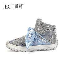 Jane heh European Station 2018 autumn new flat round high-top shoes female fashion rivets personality bow boots