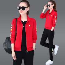 Sportswear womens casual fashion new three-piece set early autumn long-sleeved running sports loose show thin clothing trend.