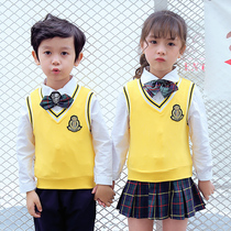 Korean kindergarten clothes cotton sweater vest children British style kindergarten and primary school uniforms spring and autumn school uniforms
