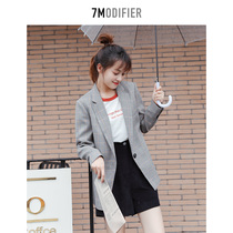 7M plaid small blazer in the long section of womens 2019 Winter new Korean version of casual loose long-sleeved shirt tide