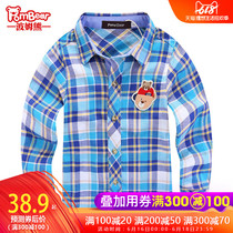 Bohm bear childrens clothing new spring and autumn childrens plaid long-sleeved shirt cotton lapel Korean boy baby shirt