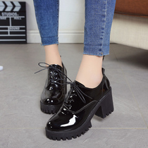 2019 spring new British style Girl small shoes ladies shoes with coarse heels increased student shoes