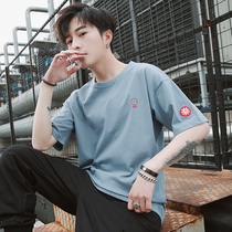 Mens short-sleeved T-shirt mens 2019 new summer five-sleeve loose tide trend dress 5-sleeve half-sleeve mens