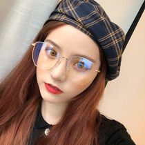 Net red glasses frame myopia frame female art gold degree glasses men and women retro square tide big face