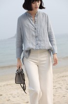 Classic Small Micro facing the sea high-quality eco-linen stand collar long-sleeved shirt light gray blue