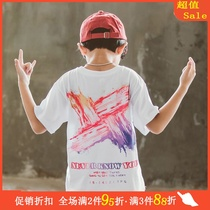Boys summer cotton short-sleeved t-shirt 2020 new large childrens thin loose top children summer dress half-sleeve white 9