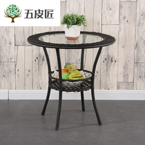Balcony small table bedroom coffee table table dinner small coffee table home simple small round table square table zhuozi glass