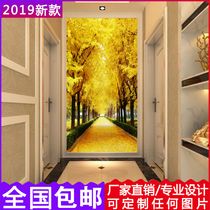 Modern porch seamless 8D wall covering corridor aisle wallpaper hotel living room background wall space extension decorative murals