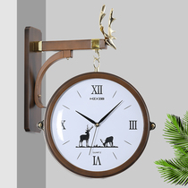 Nordic watch simple European double-sided wall clock fashion creative deer head bracket two-side clock home restaurant wall clock