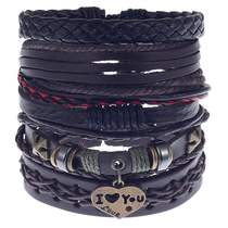 2019 mens trend hip-hop Europe and the United States diy fashion bracelet hand-woven leather bracelet leather hand-string bracelet.