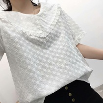 Summer 2019 Japanese small fresh fashion simple embroidery loose V-neck wild short-sleeved shirt tide