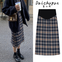 Maternity skirts autumn adjustable thickened a-line plaid skirt mid-length maternity winter models tide mom dress