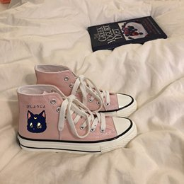 Jam MEJON moon cat print custom canvas shoes hundred-set student girl shoes Korean version ins high-gang shoes 0