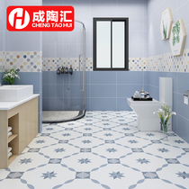 Nordic small flower brick Mediterranean small fresh toilet floor tile kitchen wall brick blue geometric balcony tile 300.