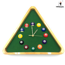 13-inch triangle solid wood clock exquisite billiard watch billiards gift Arena ornaments wall clock billiard supplies