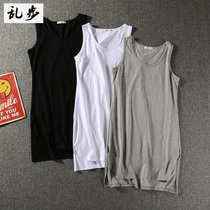 Summer high street Tide brand Solid Color long sleeveless T-shirt male loose cotton short before and after the long open vest T-shirt