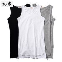 High street dance Tide brand sports cotton sweat vest male breathable sleeveless shirt short before long long section of hip-hop shirt
