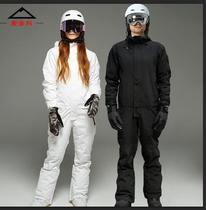 Siamese ski men and women single and double board removable waterproof equipment snow to warm the black and white ski pants suit