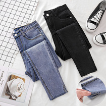 Elastic jeans female nine pants spring and Autumn 2018 new Korean version of chic black thin skinny feet pants female