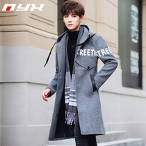 Winter Korean version of the British style mens wear thickening medium and long slimming handsome woolen coat mens cashmere woolen coat