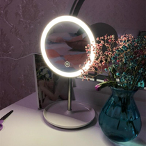 Desktop led lights makeup mirror charging portable dressing small round mirror with light female beauty desktop net red light mirror