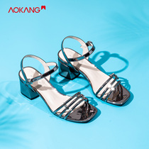 (Store delivery) aokang shoes 2019 summer New Fashion Europe and the United States with a rough with Square sandals women