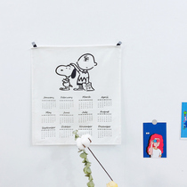 2019 Tissu Art calendrier ins calendrier Nordic minimalist décoration murale caricature bâton Snoopy figure bed and breakfast tissu suspendu