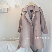 Men and women British wind double-sided wool cashmere coat 19 Winter new parent-child large children long coat