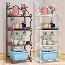European-style iron shelf bedroom multi-storey bookshelf floor living room bathroom room storage storage small shelf